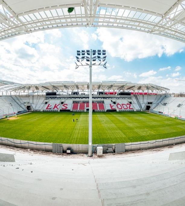 Stadion Miejski Łódzkiego Klubu Sportowego wyposażony w nasze trasy kablowe